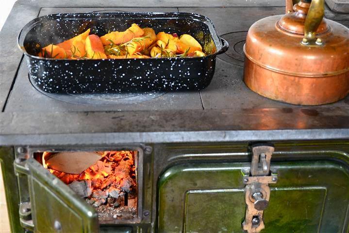 Ofengemüse auf dem Holzherd